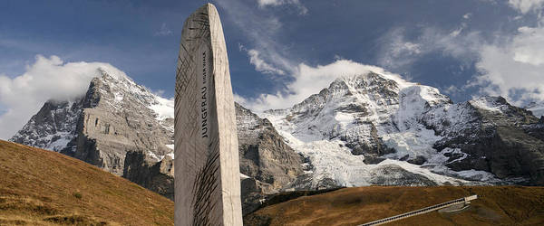 Peacefulness Photograph - Trail Sign With Mt Eiger And Mt Monch by Panoramic Images