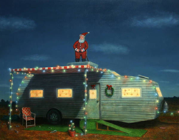 Humor Wall Art - Painting - Trailer House Christmas by James W Johnson