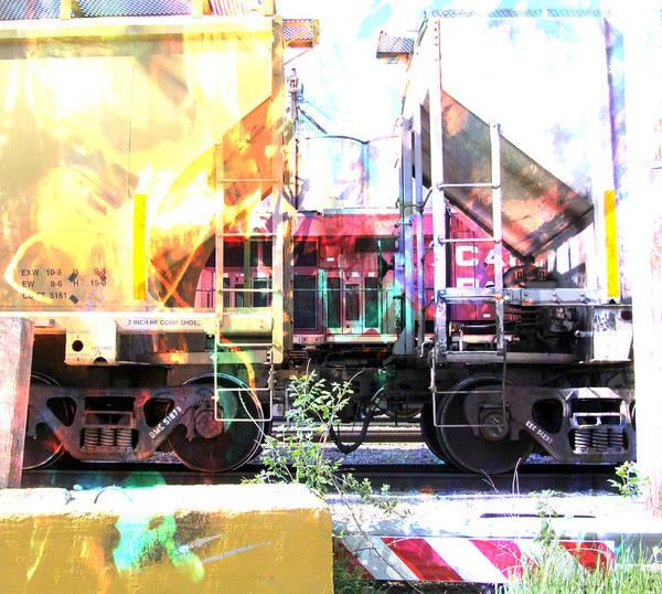 Digital Art - Train Abstract Blend 1 by Anita Burgermeister