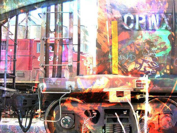 Digital Art - Train Abstract Blend 3 by Anita Burgermeister