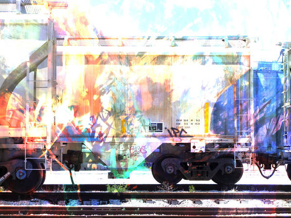 Digital Art - Train Abstract Blend 4 by Anita Burgermeister