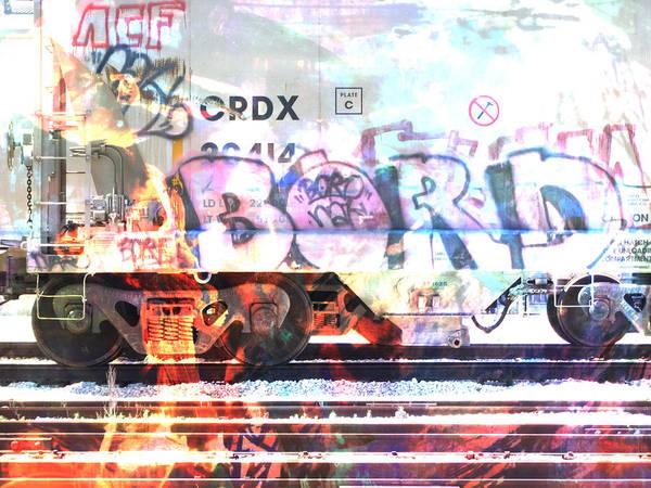 Digital Art - Train Abstract Blend 5 by Anita Burgermeister