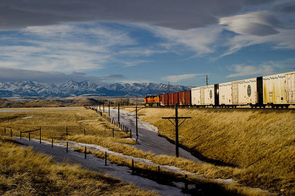 Train And The Crazies By Big Timber Montana Art Print