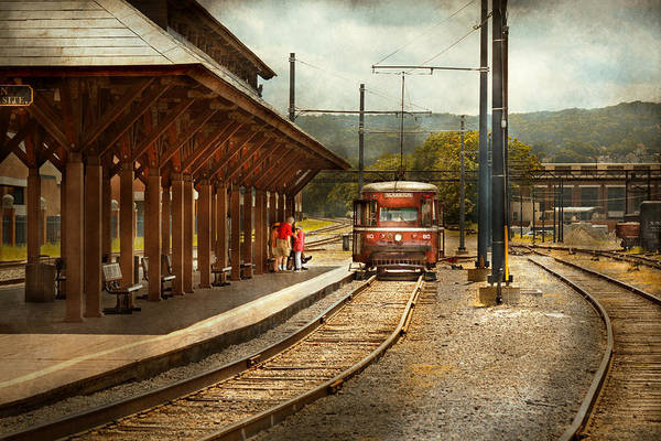 Photograph - Train - Boarding The Scranton Trolley by Mike Savad