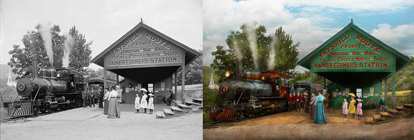 Catskills Photograph - Train - Haines Corners - Catskill Mountains - Ny - Waiting For Departure - 1901 - Side By Side by Mike Savad