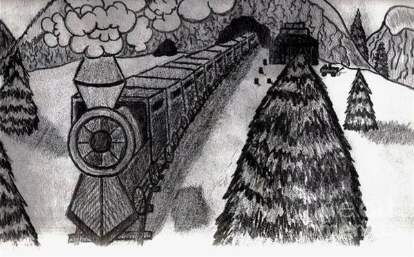 Drawing - Train In The Snow by Neil Stuart Coffey