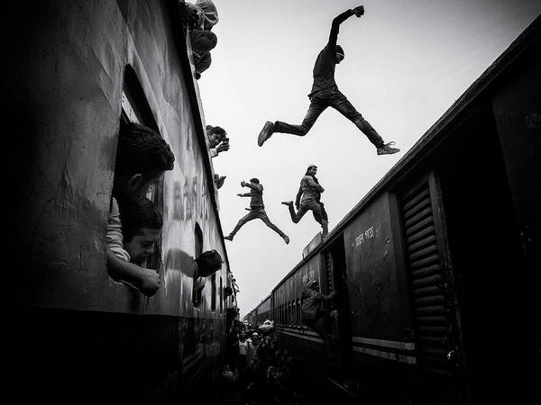 Jumping Photograph - Train Jumpers by Marcel Rebro