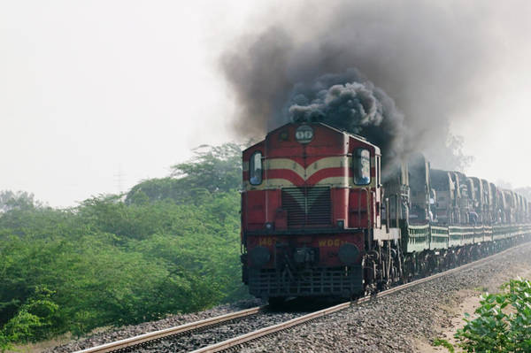 Exhaust Wall Art - Photograph - Train On Railway Track, Rajasthan, India by Keren Su