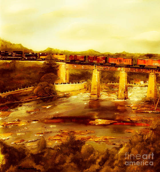 Painting - Train Over Chattachoochee - Columbus by Jan Dappen