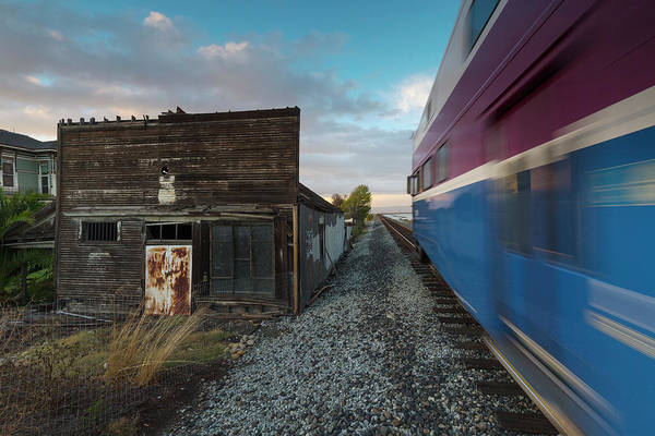 Alviso Photograph - Train Passing By Old Building, Alviso by Peter Essick