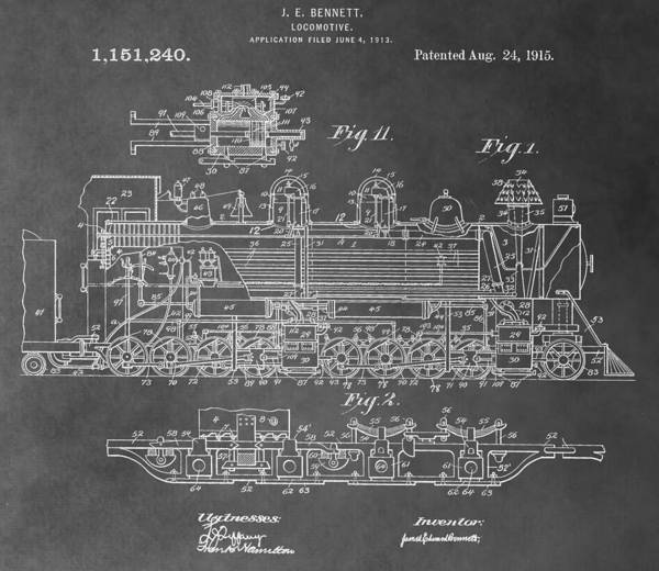 Digital Art - Train Patent by Dan Sproul