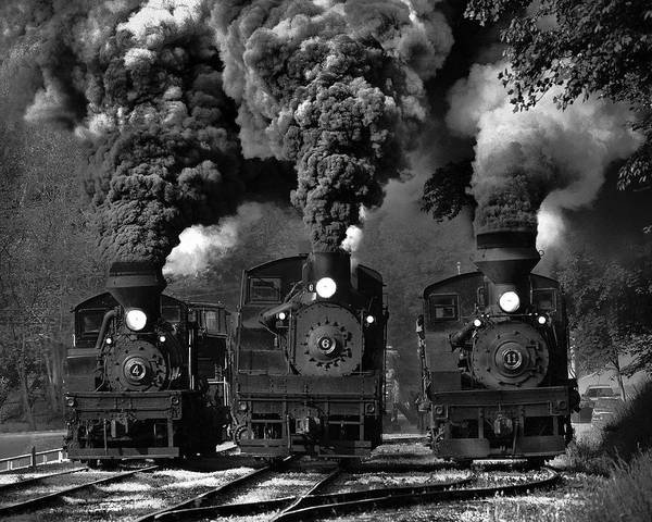 Steam Engine Photograph - Train Race In Bw by Chuck Gordon
