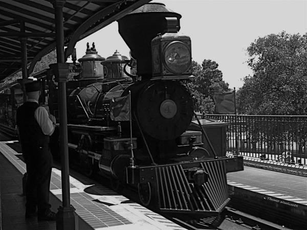 Wall Art - Photograph - Train Ride Magic Kingdom Black And White by Thomas Woolworth