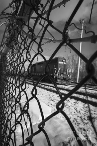 Chain Link Photograph - Train Through The Chain Link Fence by Edward Fielding