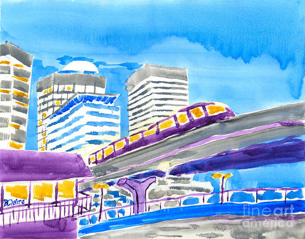 Painting - Train Through Tokyo City by Beverly Claire Kaiya