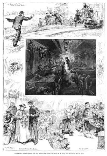 American Car Drawing - Train Travel, 1883 by Granger