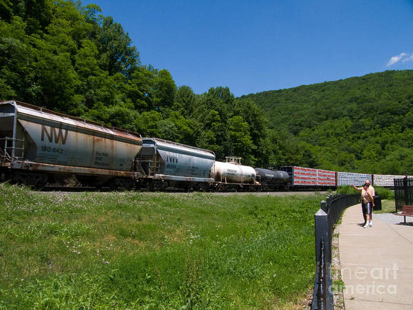 Norfolk Southern Railway Wall Art - Photograph - Train Watching At The Horseshoe Curve Altoona Pennsylvania by Amy Cicconi