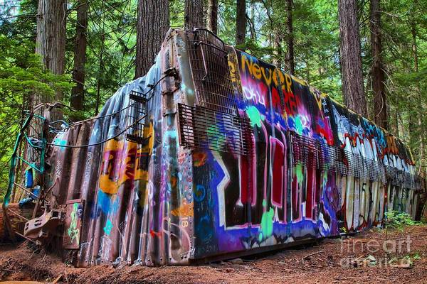 Photograph - Train Wreck Art In The Forest by Adam Jewell