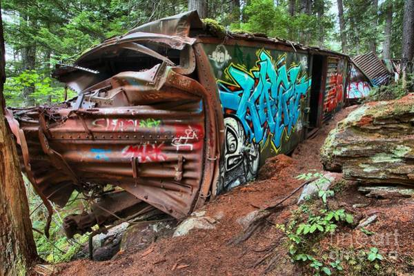 Photograph - Train Wrecked In The Trees by Adam Jewell