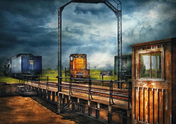 Grimy Wall Art - Photograph - Train - Yard - On The Turntable by Mike Savad