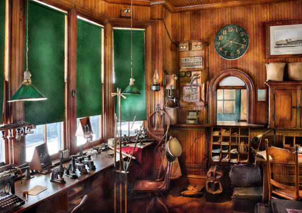 Rr Photograph - Train - Yard - The Stationmasters Office  by Mike Savad