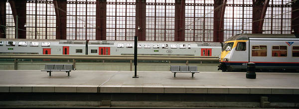 Antwerp Photograph - Trains At A Railroad Station Platform by Panoramic Images