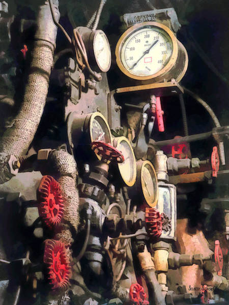 Photograph - Trains - Inside Cab Of Steam Locomotive by Susan Savad