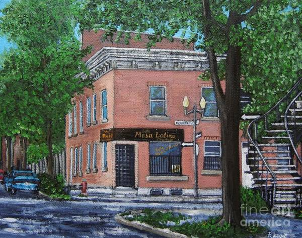 Montreal Street Scene Wall Art - Painting - Traiteur Mesa Latina  by Reb Frost