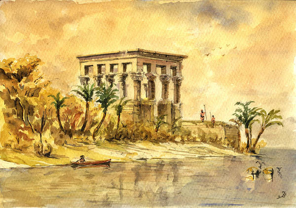 Ancient Egypt Painting - Trajan Kiosk Temple Aswan Egypt by Juan  Bosco