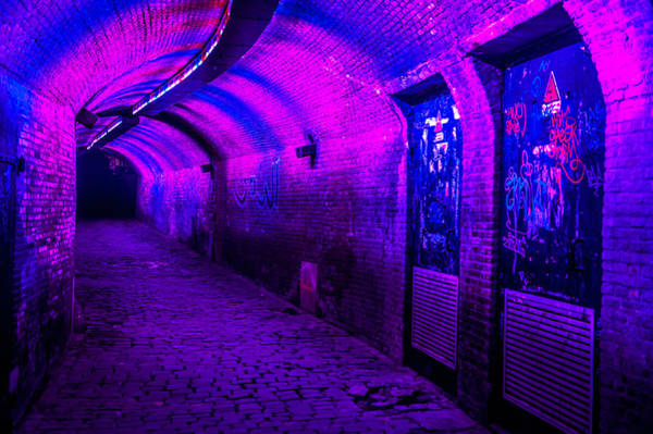 Holland Tunnel Wall Art - Photograph - Trajectum Lumen Project. Ganzenmarkt Tunnel 5. Netherlands by Jenny Rainbow