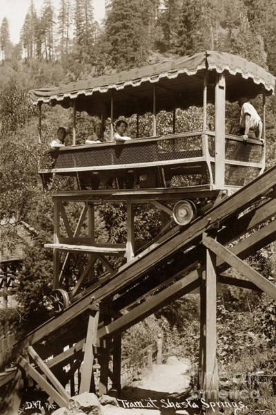 Photograph - Tram At Shasta Springs California Circa 1925 by California Views Archives Mr Pat Hathaway Archives