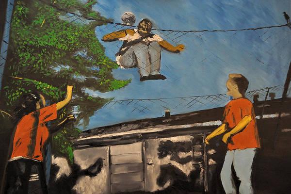 High Jump Painting - Trampoline Jump by Ruben Barbosa