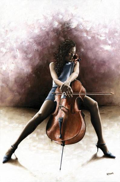 Wall Art - Painting - Tranquil Cellist by Richard Young