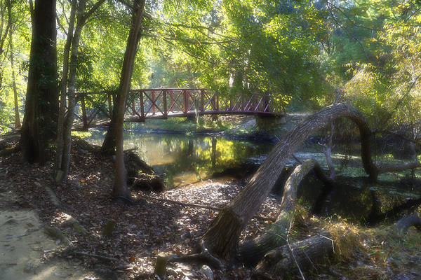 Photograph - Tranquil Creek With Footbridge In October by MM Anderson