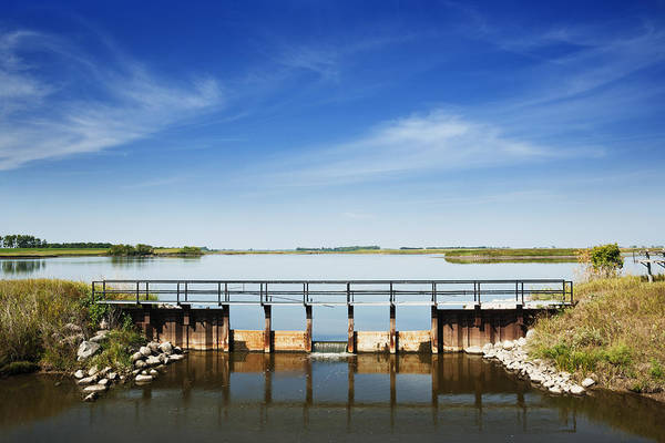 Spillway Photograph - Tranquil Water Scene by Donald  Erickson