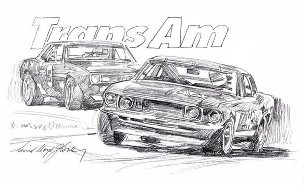Drawing - Trans Am Racing Mustang by David Lloyd Glover