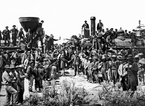 Promontory Point Photograph - Transcontinental Railroad by Underwood Archives