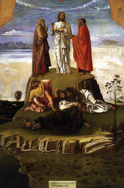 Lamb Of God Wall Art - Painting - Transfiguration Of Christ On Mount Tabor 1455 Giovanni Bellini by Karon Melillo DeVega
