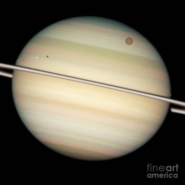 Dione Photograph - Transit Of Saturns Moons by Science Source