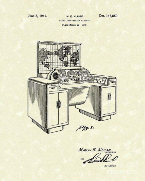 Wall Art - Drawing - Transmitter Cabinet 1947 Patent Art by Prior Art Design