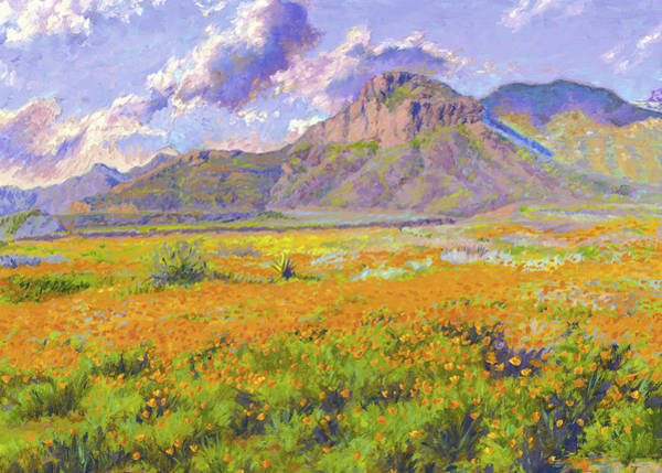 El Paso Wall Art - Painting - Transmountain Poppies - El Paso by Abel DeLaRosa