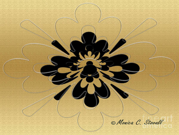 Digital Art - Transparent On Gold Floral Design by Monica C Stovall