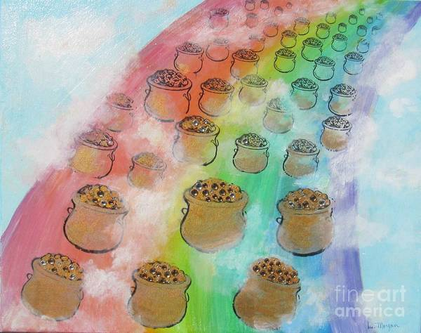 Lucky Charm Painting - Rainbow Gold by Laurie Morgan