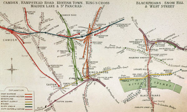 Old West Drawing - Transport Map Of London by English School