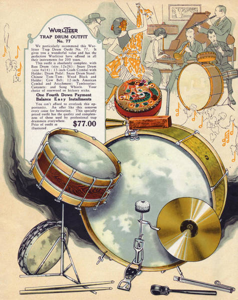 Wall Art - Drawing - Trap Drum Outfit From The  Wurlitzer by Mary Evans Picture Library