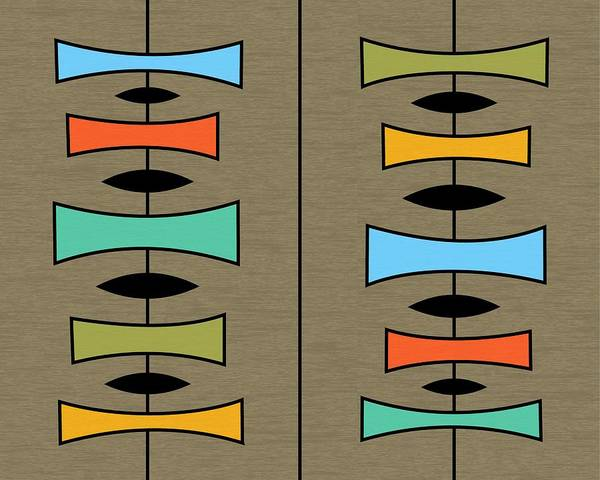 Digital Art - Trapezoids 3 On Brown by Donna Mibus