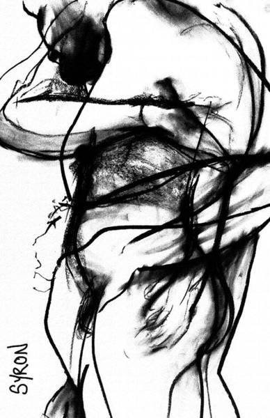 Male Model Drawing - Trapped by Helen Syron