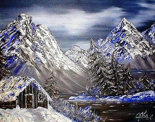 Painting - Trappers Cabin by The GYPSY