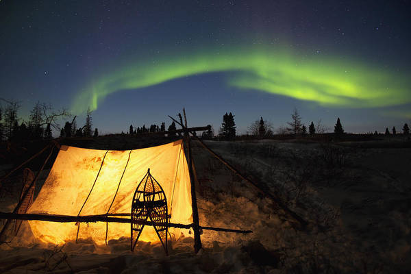 Trapping Photograph - Trappers Tent Lit Up With Aurora by Richard Wear