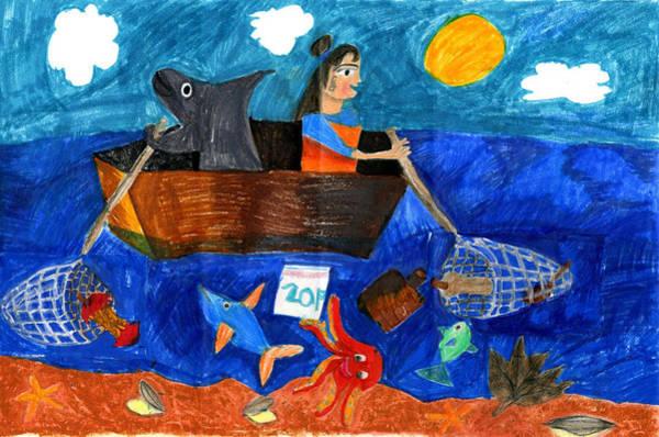 Litter Drawing - Trash Free Ocean By Joyce Zhang Kindergarten by California Coastal Commission